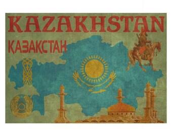 KAZAKHSTAN 1F- Handmade Leather Wall Hanging - Travel Art