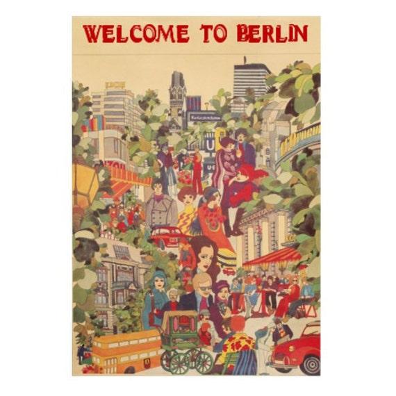 BERLIN 1- Handmade Leather Wall Hanging - Travel Art