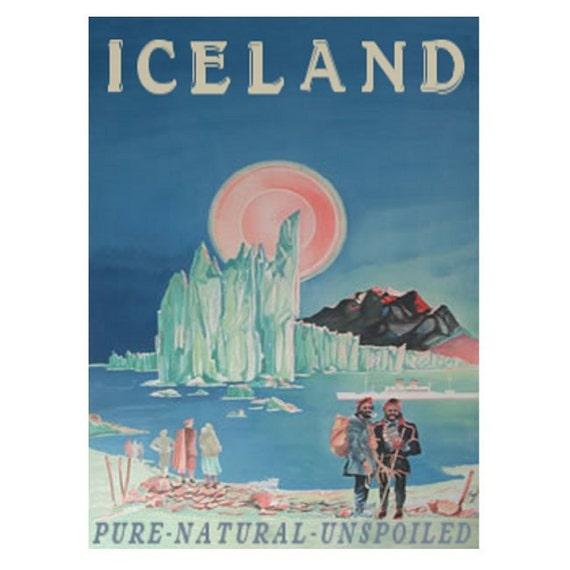 ICELAND 1- Handmade Leather Wall Hanging - Travel Art