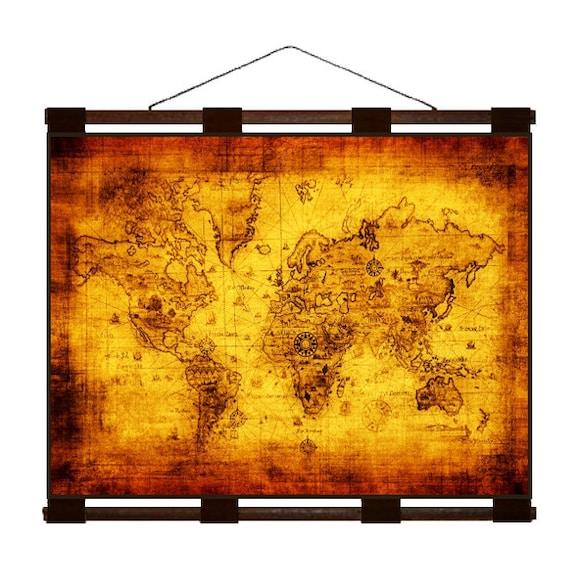 ANTIQUE WORLD Map 1M- Handmade Leather Wall Hanging - 24x18 Travel Art