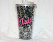 Sassy Sippers - Personalized Double Wall Acrylic Tumblers - 24 oz cup with straw - Black and Cream Floral
