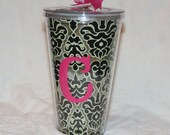 Sassy Sippers - Personalized Double Wall Acrylic Tumblers - 24 oz cup with straw - Black Damask
