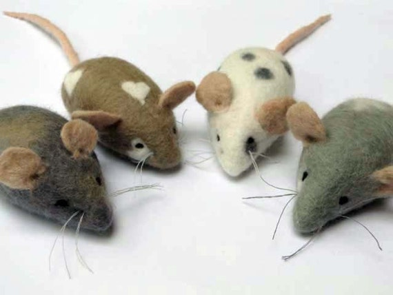 image diy needle felting kit mouse mice tutorial