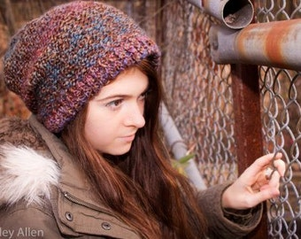 Multi Color Slouchy  Knit Beanie