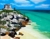 RESERVED FOR HEATHER - Original oil painting - Mayan ruins on the rocky beaches of Tulum, Mexico