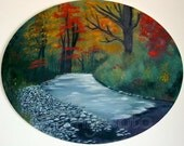 Original oil painting - rushing stream with rocky shore through a autumn colored forest - oval