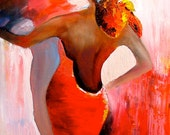 Original oil painting - latin woman dancer in backless red dress