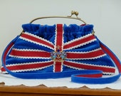 """Reserved for Customfly-Please don't buy      Royal blue """"Terribly British""""  velvet  and lace clutch bag : Kate bag no.1"""