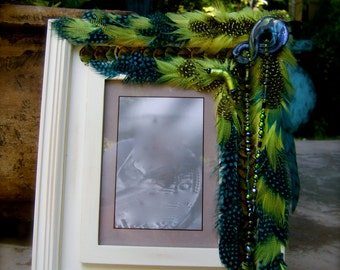 SALE Artistic Picture Frame-Turquoise With A Splash of Lime-5 x 7 Frame Embellished With Feathers and Jewels