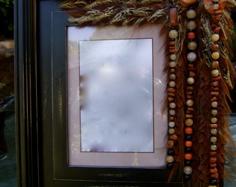 SALE Artistic Picture Frame - Golden Garnet - 5 x 7 Frame Embellished With Feathers and Jewels