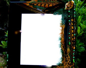 RESERVED For J - Do Not Buy - Artistic Picture Frame - Emerald City - 8 x 10 Frame Embellished With Feathers and Jewels