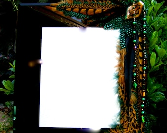 SALE Artistic Picture Frame - Emerald City - 8 x 10 Frame Embellished With Feathers and Jewels
