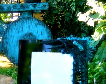 SALE Artistic Picture Frame - Blue - 8 x 10 Frame Embellished With Feathers and Jewels