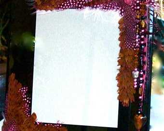 SALE Artistic Picture Frame - Pink Sapphire - 8 x 10 Frame Embellished With Feathers and Jewels