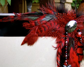 SALE Artistic Picture Frame - Ruby Red - 8 x 10 Frame Embellished With Feathers and Jewels
