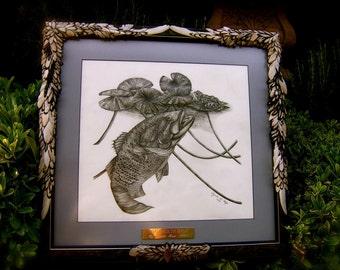 "SALE Artistic Original Bass Art  ""Smallmouth Bass"" An Original With Embellished Frame"