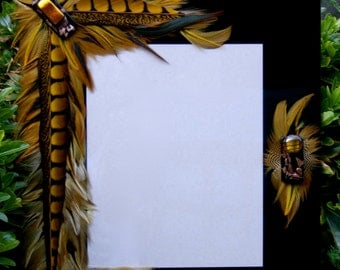 """SALE Artistic Picture Frame - """"Eye Of The Tiger"""" - 8 x 10 Frame Embellished With Feathers and Jewels"""