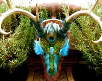 "SALE - Artistic Deer Skull - Title: ""Warrior Of Wisdom"" A Whitetail Deer"