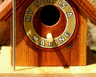 """Title:  """"My Son Is A Marine"""" Birdhouse - Support Our Troops"""