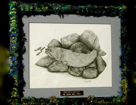 "SALE Artistic Original Freshwater Art  ""Brown Trout"" An Original With Feathered Embellished Frame"