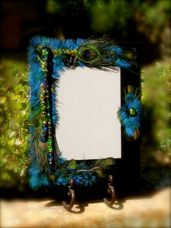 """SALE - """"The Peacock Wedding"""" - 8 x 10 Frame Embellished With Feathers and Jewels - A Collectable"""