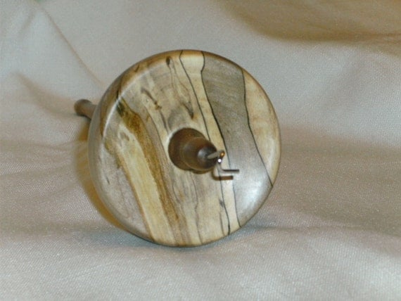 Spindle Hand Turned Top Whorl Drop Spindle Made From Spalted Maple And Black Walnut