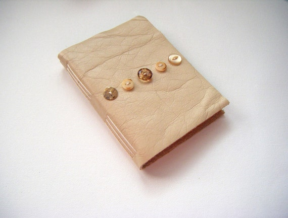 Ivory and Marigold Leather Journal-Handmade