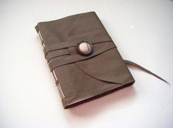 Mineral Grey Leather Journal-Handmade