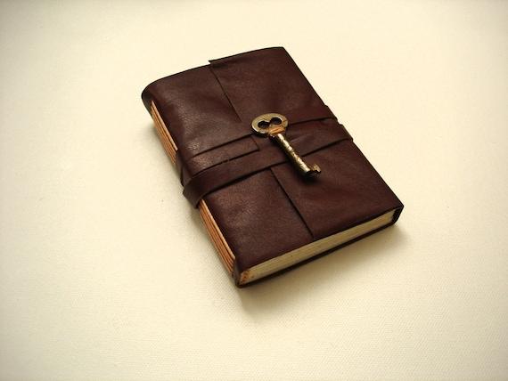 Mini Burgundy Leather Pocket Journal-Handmade-Skeleton Key