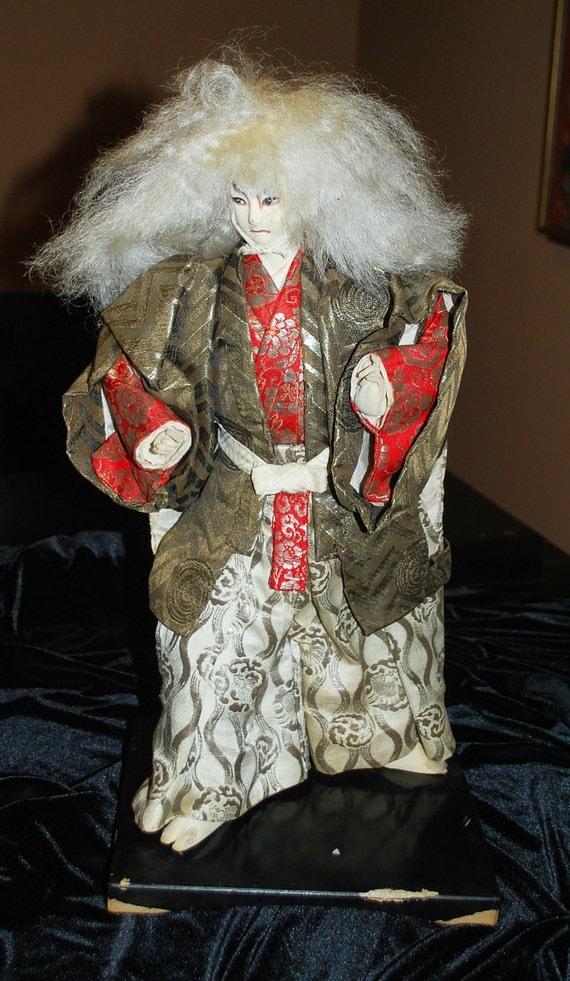 Vintage Kabuki Lion Doll Japan Japanese Takeda Ningyo Dance Kagamijishi Japanophile Mad Men Decor Theatre Shishi Guchi  Evil Spirit