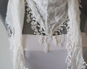 Turkish Fabric Fringed Guipure Scarf