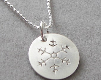 Sterling Silver Snowflake Necklace - Hand stamped