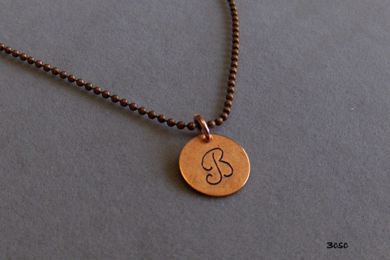 Copper Hand Stamped Initial Pendant in Mongram or Block Style