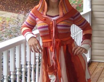 Custom made women's multi-colored sweater coat short skirt