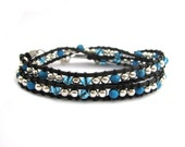Leather Wrap bracelet Double wrap Crystal turquoise silver bead unisex