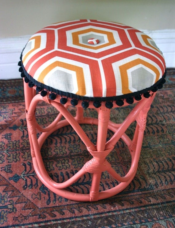 Refinished Button-Tufted Colorful Pink Stool