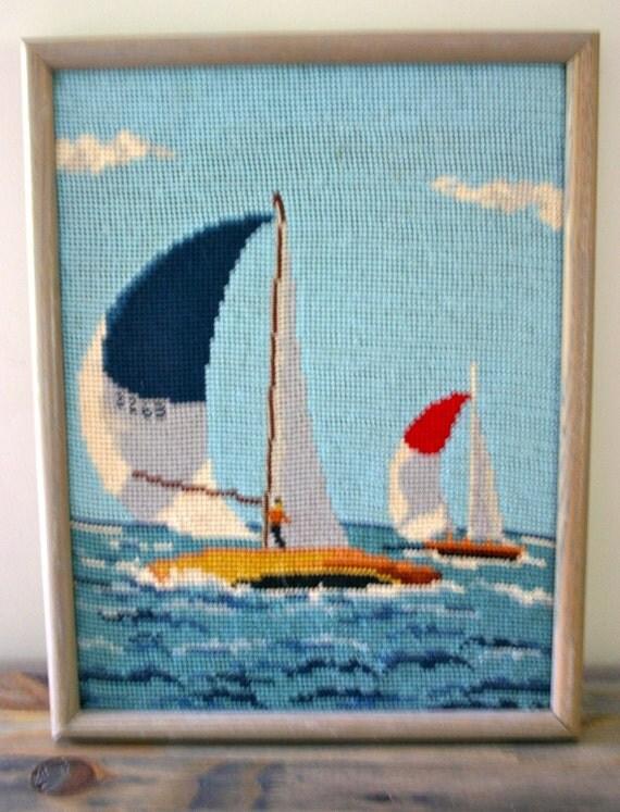 Framed Sailboat Needlepoint Art