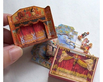 Dolls' House Miniature - Wooden Toy Theatre (Fairy Garden)