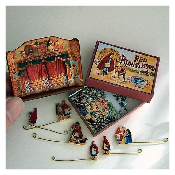 Dolls' House Miniature - Wooden Toy Theatre (Red Riding Hood)
