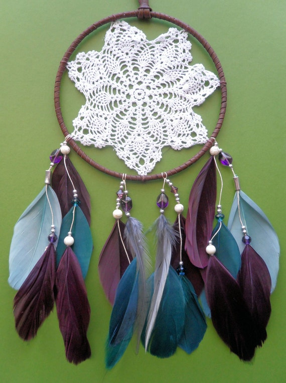 Dream Catcher - Doily - Purple, Blue, Gray - Beaded - Modern