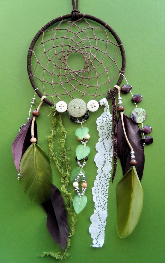 Dream Catcher Woodland Unique Green And Purple Lace