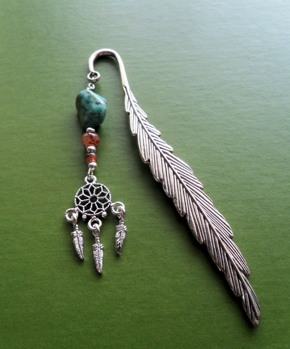 Dream Catcher - Bookmark - Southwestern - Turquoise - Feather