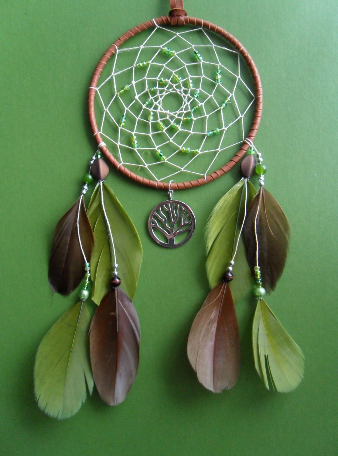 Dream Catcher Tree Of Life Green And Brown Hippie