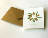 Stationery - Handpainted botanical card - Original watercolor painting card - acorns acorn forest woodland green nougat brown