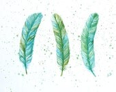 Bird feather art Original watercolor painting Hand painted art card Turquoise wall decor