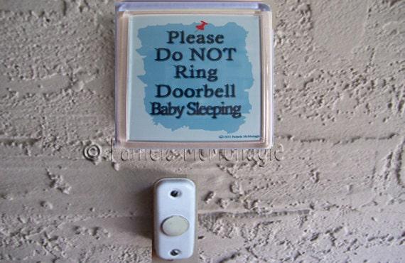 Doorbell Sign  A Note Do Not Ring Bell Baby Sleeping