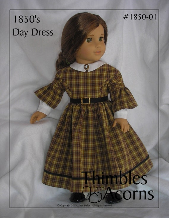 PDF Pattern for 1850 Day Dress with Shirred or Smocked Sleeves for 18 inch American Girl Doll