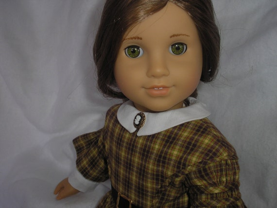 1850's Day Dress with Pleated and Shirred Sleeves for 18 inch American Girl Doll