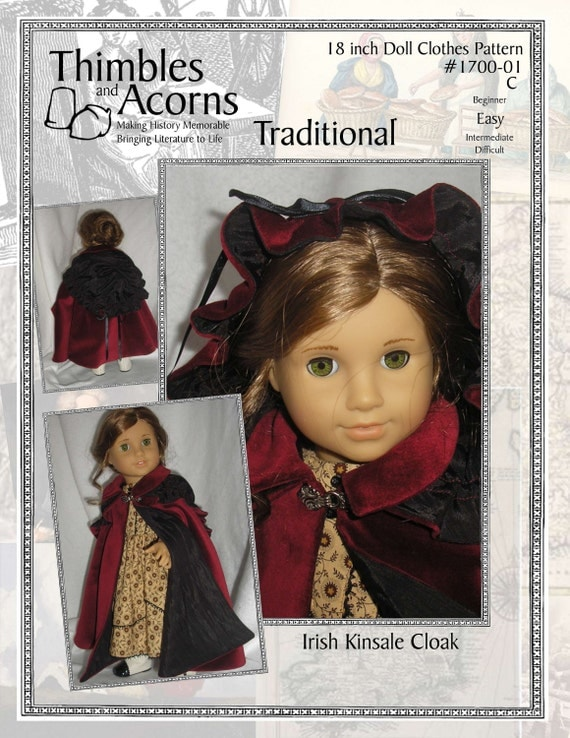PDF Pattern for Irish Kinsale Cloak with Drawstring Hood for 18 inch American Girl Doll