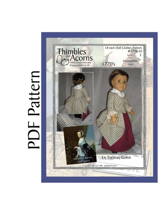 PDF Pattern for 1770 Style En Forreau' Gown for 18 inch American Girl Doll